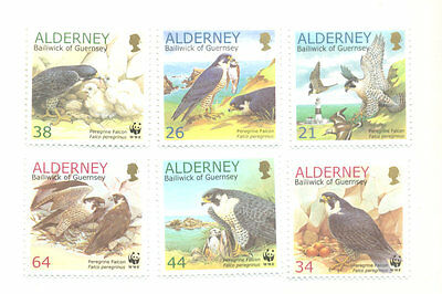 Alderney-Birds-Peregrine Falcon mnh set-Raptors - Birds of Prey