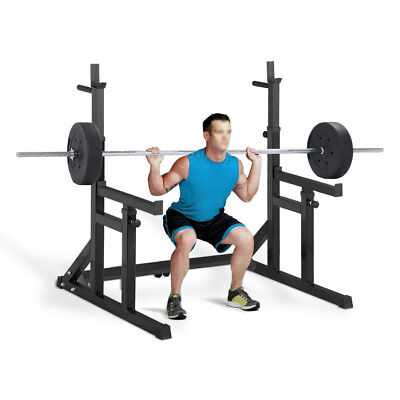 Adjustable Squat Barbell Power Rack Stand Press Dip Weight Lifting Spotter Black