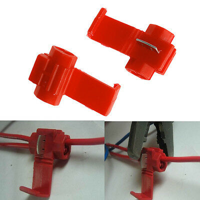 50X/ Red Lock Wire Electrical Cable Connector Quick Splice Terminals Crimp Car