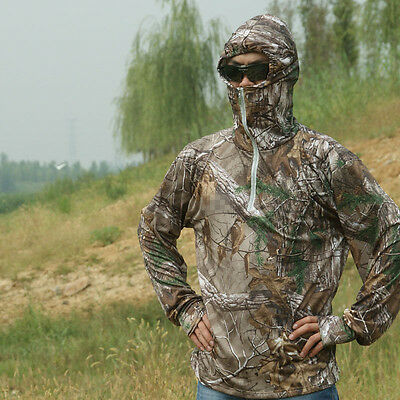 Summer Bionic Camouflage Breathable Hooded Long Sleeve Fishing Hunting T-shirt