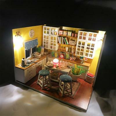 DIY Wooden Kitchen Dollhouse Room Miniature With Furniture Cover Light Kit Gift