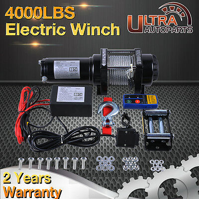 4000lb ELECTRIC WINCH 12Volt STEEL CABLE WITH WIRELESS REMOTE 4WD TRUCK BOAT ATV
