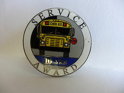School Bus Driver Service Award 10 Yr Pin -  Only One On Ebay... Rare Nice Find
