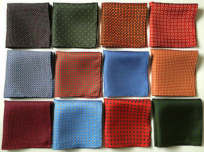 Hand Printed Silk Pocket Square Handkerchiefs. Assorted Colours. Hand Made In Uk