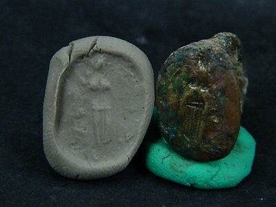 Ancient Bronze Seal Ring Bactrian 300 BC No Reserve  #B703