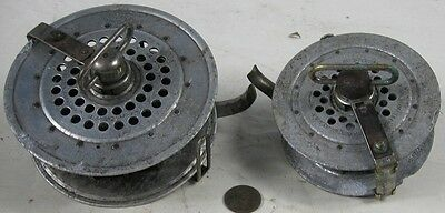 2 Antique 1891 Yawman & Erbe Clock Wind Fly Fishing Reels Large & Small