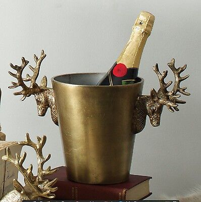 Culinary Concepts Gold Stag Head Champagne Ice Bucket Wine Cooler