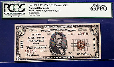 $5 1929 National Bank Note FR#1800-1 Type-2 PCGS63 Choice Uncirculated