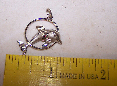 Vintage Silver Tone DOLPHIN Pendant - Estate Find Charm