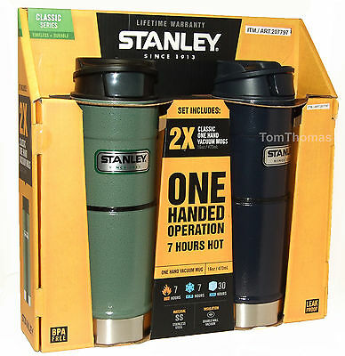 2 x Stanley Stainless Steel Drinks Flasks One Hand Operation Hot / Cold