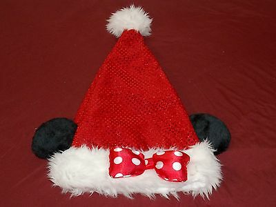 Disney Parks Minnie Mouse Adult Sequin Santa Christmas Holiday Ear Hat (NEW)