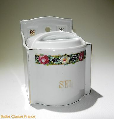 vintage superb french SEL SALT ceramic wall box canister pot with flowers decor