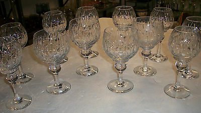 Gorgeous Set of 12 Rogaska wine hock etched crystal goblets Mint condition