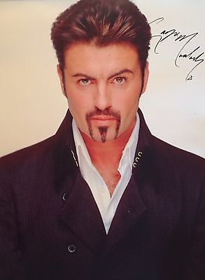 Huge George Michael Hand Signed Original Poster With Back Stage Pass