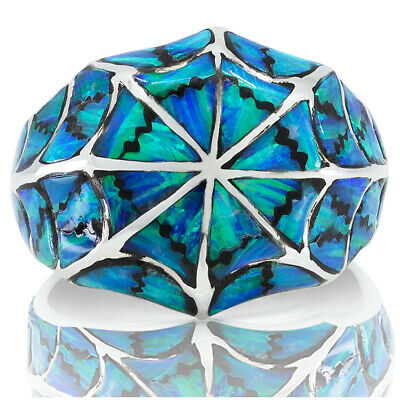 Handmade Men Women Ring 925 Sterling Silver Blue Opal Turquoise Size 6 8 9 12 14