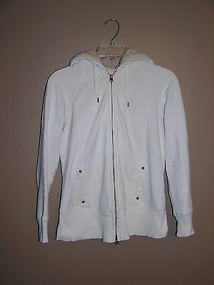 Gap Maternity Ivory Full Zip Hoodie Sherpa Lined Hood Size XS Extra Small