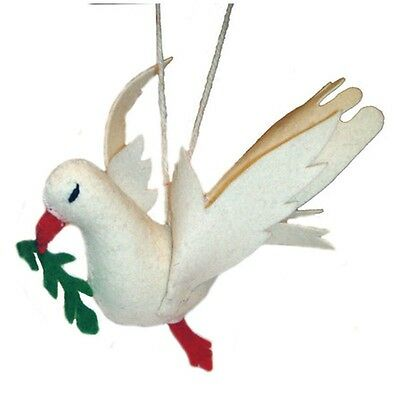Handmade by Artisan Needle Felt Wool Dove Bird Christmas Tree Holiday Ornament