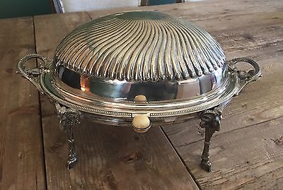 Victorian Silverplate Dome Roll Top Serving or Chafing Dish w Rams Heads