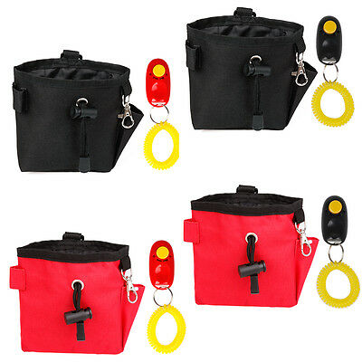 Dog Pet Obedience Agility Bait Training Bag Food Treat Pouch Holder + Clicker