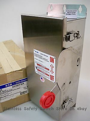 Eaton Stainless DH362FWK 60a 600v Fused Safety Switch 10 Available NEW
