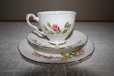 Vintage Royal Stafford Bone China 'Tea Rose'Trio Side Plate Saucer Tea Cup VGC