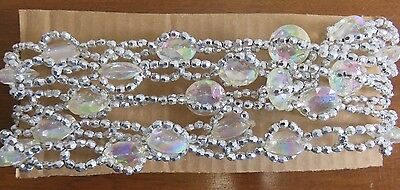 Vtg Fauceted Cystal Like Plastic & Silver Bead Garland Christmas Tree - 56 Feet