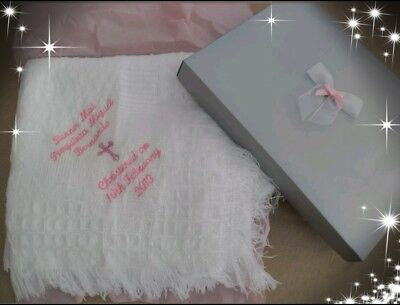 personalised Baby shawl blanket  embroidered christening or baptism