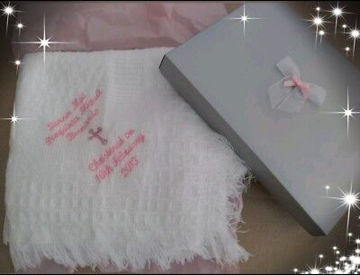 personalised embroidered Baby shawl blanket and /or bib christening or baptism