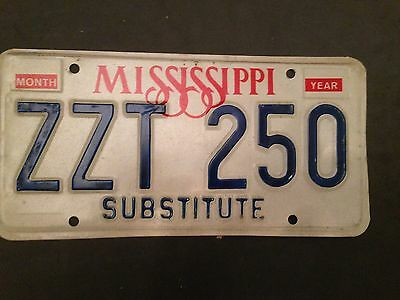 Mississippi Substitute License Plate Tag Zzt - 250