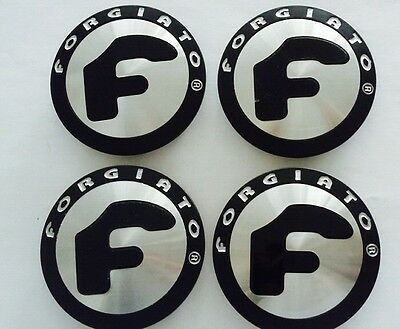 Set Of 4 Forgiato  Satin Black Caps With Brushed Silver Center Caps New 2 Tone