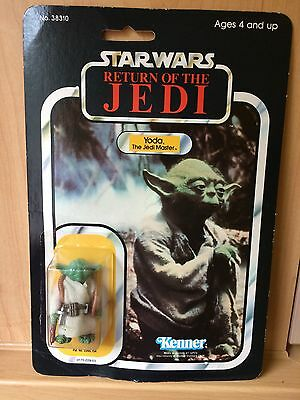 Vintage Star Wars Figure Very Rare Made in Mexico Yoda Carded 65 Backed Card