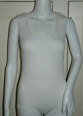 Ladies Vintage Winter White Chilprufe Sleeveless Thermal Vest Size Large - BNWOT