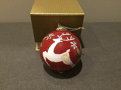 "Pier 1 Hand Painted Li Bien Glass Ornament 2016 Reindeer 3.15"" W/Gift Box"