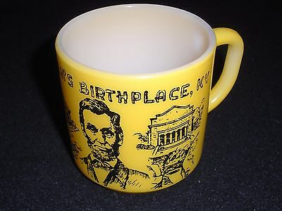 Vintage Federal Milk Glass Lincoln's Birthplace KY Abraham Lincoln cup 1950's