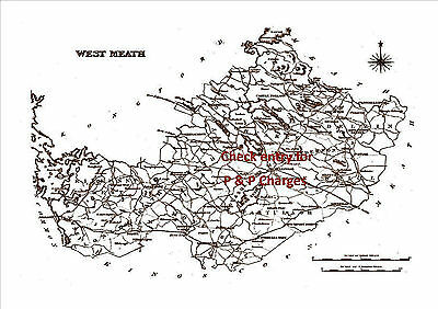 An A4 size, antique map of County West Meath, Ireland, surveyed in early 1800's.