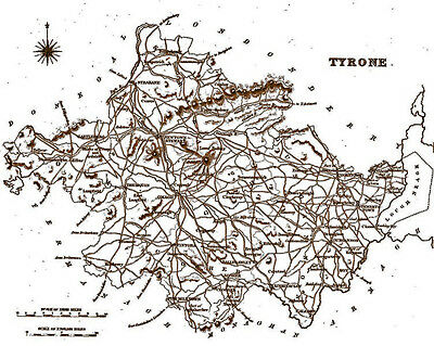 An A4 size, antique map of County Tyrone, Ireland, surveyed in the early 1800's.
