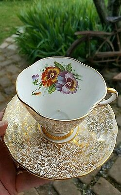 Windsor Bone China Gold Overlay Pansy Pattern Cup And Saucer England
