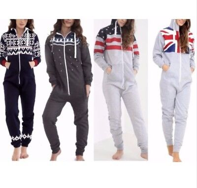 Kids Boys Girls Aztec & Plain Hooded Unisex Onesie All In One Jumpsuit Size 5-12