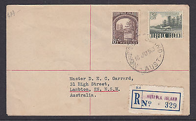 NORFOLK ISL FDC: 1953  8 1/2d AND 6 1/2d REGISTERED FDC TO NSW.