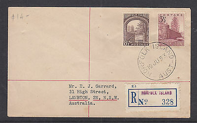 NORFOLK ISL FDC: 1953  8 1/2d AND 3 1/2d REGISTERED FDC TO NSW.