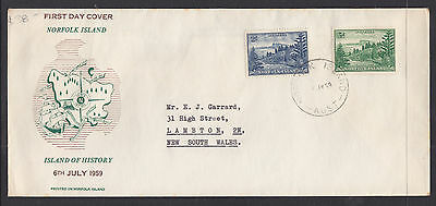 NORFOLK ISL FDC: 6th JULY 1956 BALL BAY 2/ BLUE AND 3d GREEN LONG FORMAT SCARCE.