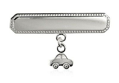 Baby Boys Rectangular 925 Sterling Silver Baby Brooch With 'car'' Charm Drop