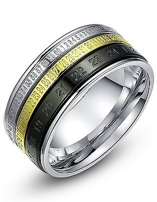 Stainless Steel Number Spinner 10mm Mens Wedding Band Ring (Black Gold and Si...