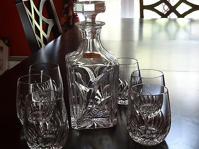 Nachtmann W Germany Heavy Lead Crystal Brandy Whiskey Decanter & 6 Glasses 90's