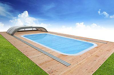 One Piece Bespoke Overflow Swimming pool Polymer and Sliding Enclosure