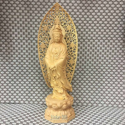 11inch Carved Lotus Base - Hollow Screen Carving Station Statue of Guanyin