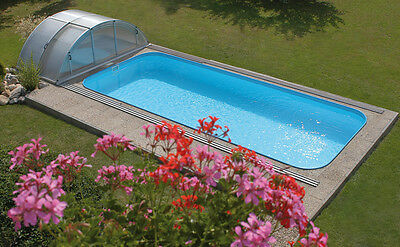 One Piece Bespoke Skimmer style Swimming pool Polymer and Sliding Enclosure