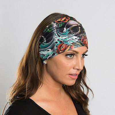 Hair Glove® EZ Bandz® Classic Tattoo Skulls Biker Headband 50165 Stretch Fabric