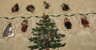 Vtg. 8 Charlie Brown & Friends Raised Plastic/acrylic Christmas Tree Ornaments