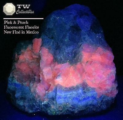 NEW FIND (9+ LBS) Huge Fluorescent Pink Peach Fluorite Mexico